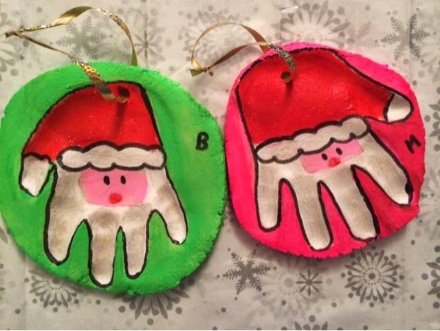 Christmas santa salt dough handprints