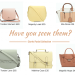 Clarks SS pastel collection handbags