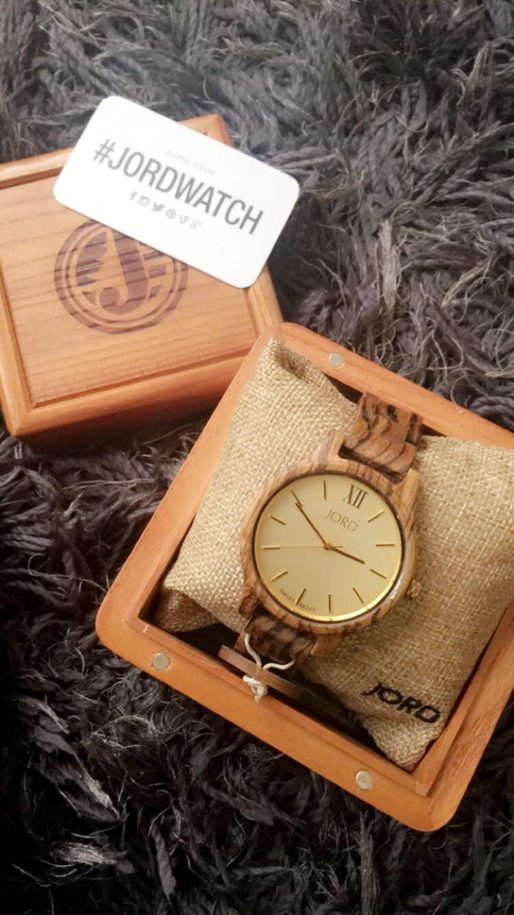 JORD wood watch FRANKIE series Zebrawood & Champagne