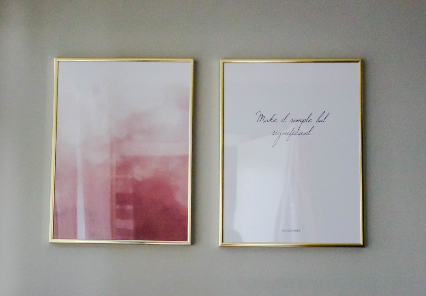 Desenio prints pink and gold home decor