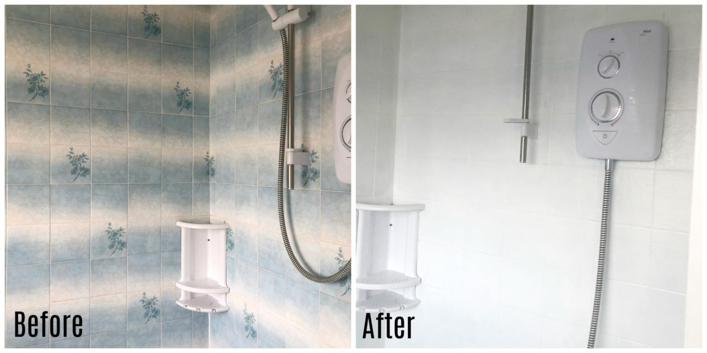 V33 tile paint before and after